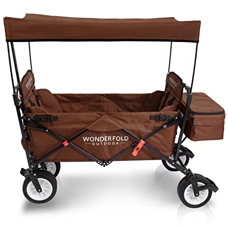 WonderFold Outdoor - Carrito plegable prémium con toldo, soporte resistente, frenos de un pedal