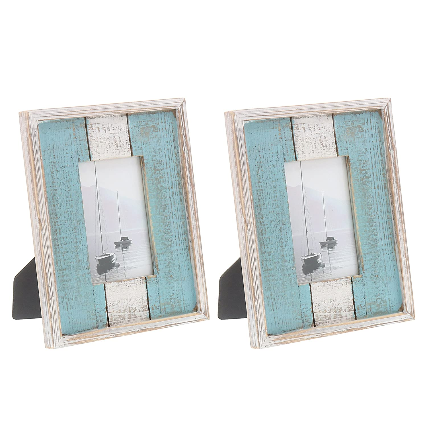 "Barnyard Designs Rustic Distressed Picture Frame, 4"" x 6"" Wood Photo Frame in White and Turquoise (2-Pack)"
