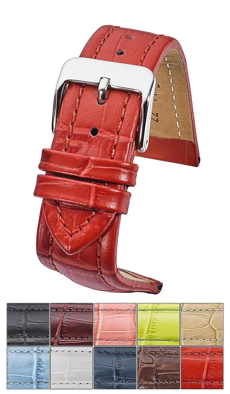 純正パッド入りレザー腕時計バンドでAlligator Grain仕上げ – Assorted 10色サイズ18 mm、20 mm、22 mm & 24 mm 22MM レッド 22MM|レッド レッド 22MM B0792SBS8N