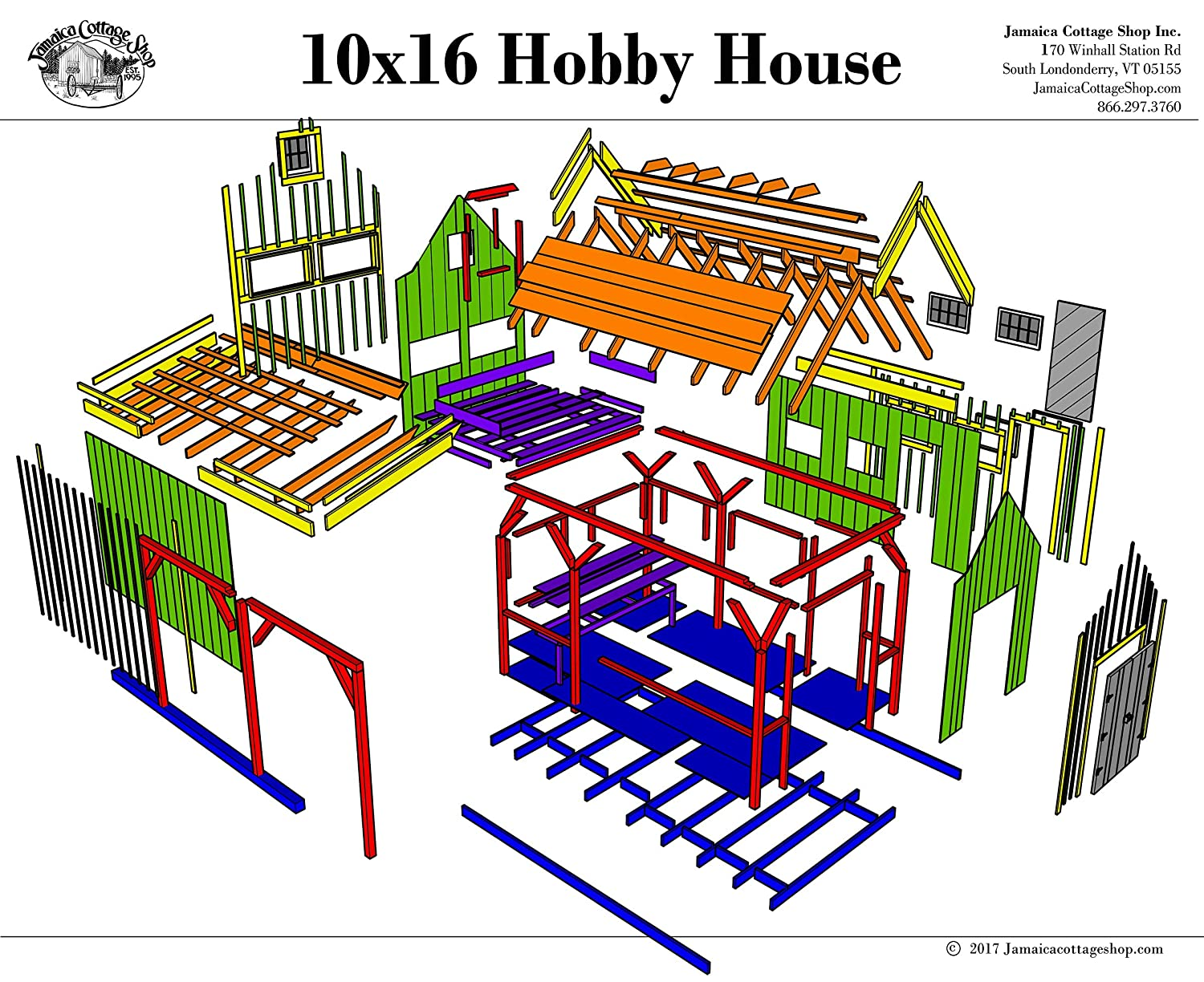 Timber Frame Post and Beam Cabin - 10x16 Hobby House