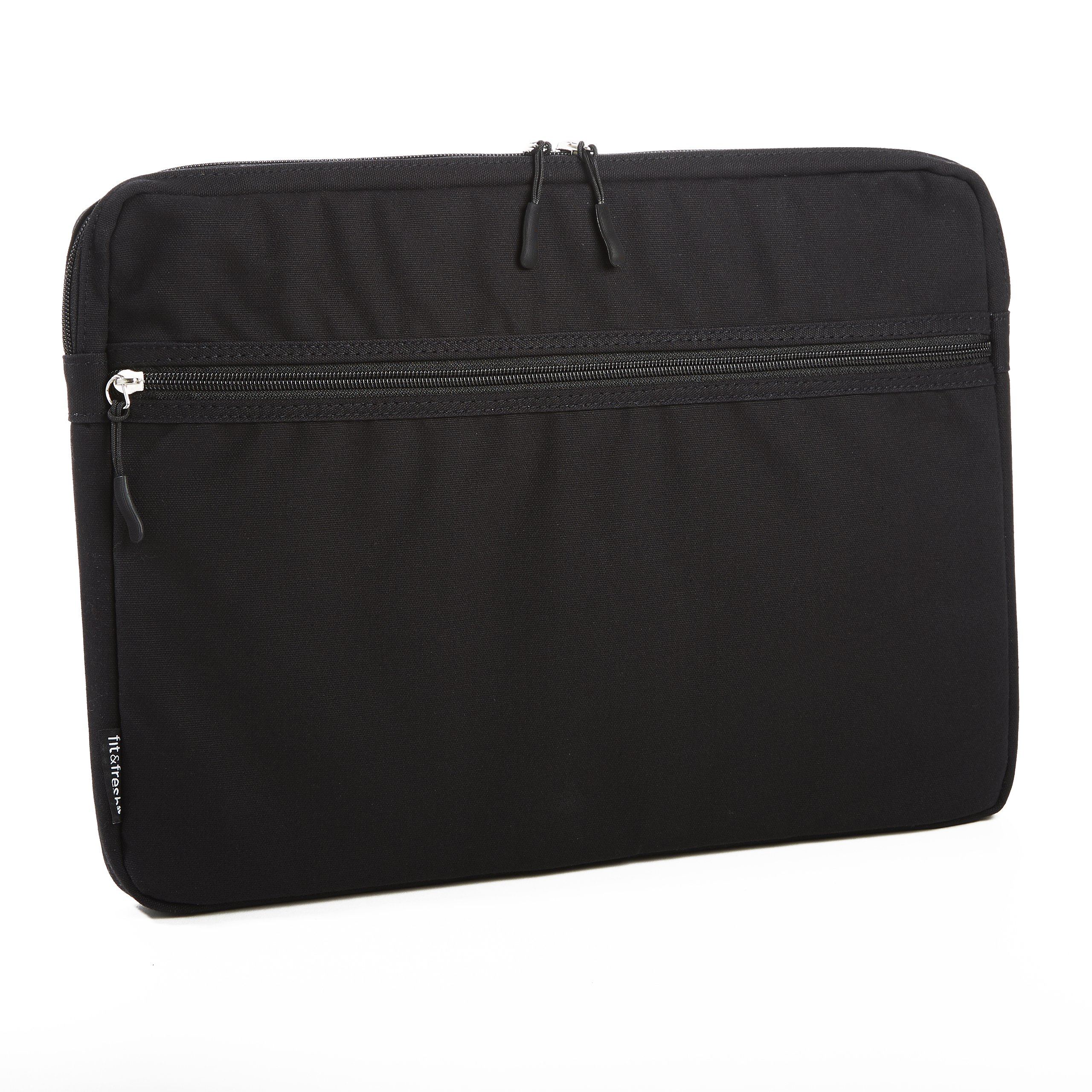 Fit & Fresh Protective Laptop Sleeve with Zippered Storage Pocket, Laptop Bag fits Apple/Microsoft/Acer/Samsung/Google/Lenovo with up to 15.6'' Displays, Black