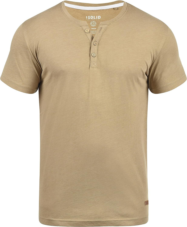 Solid Volker Camiseta Básica De Manga Corta T-Shirt para Hombre con Cuello Grandad: Amazon.es: Ropa y accesorios