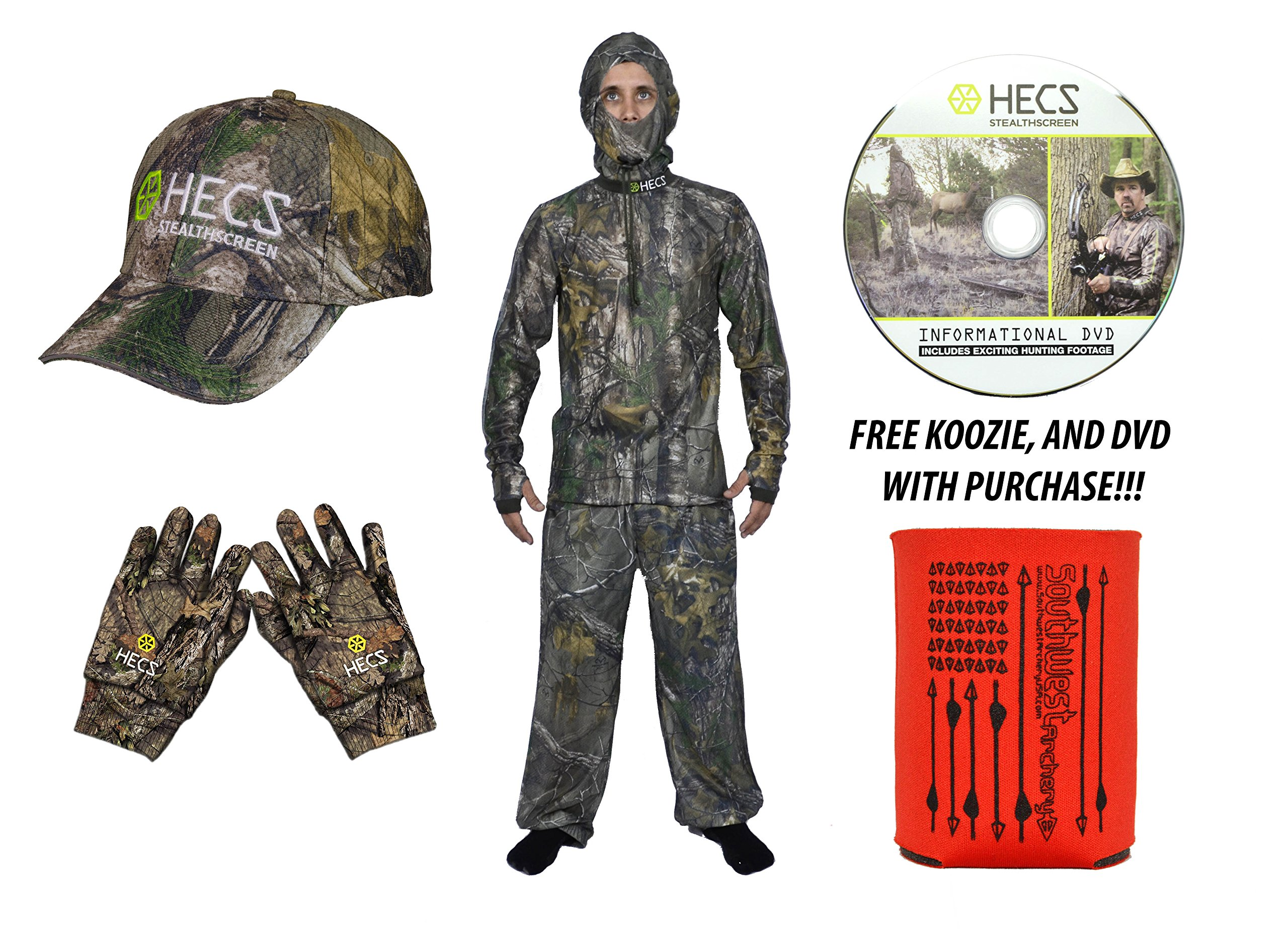 HECS Human Energy Conceal 3 piece Suit - WITH DVD & KOOZIE - Mossy Oak, XX-Large With Hat and Gloves