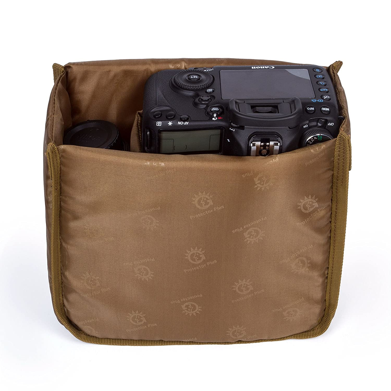 G-raphy Camera Insert Bag Camera Case DSLR SLR Insert Protective Bag Cover 8.6'' x 8.6'' x 4.3' PWaterproof Shockproof Travel for Sony Canon Nikon Olympus Pentax and etc (Brown) i-graphy