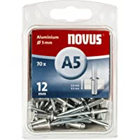 Novus Blindnieten Ø 5 mm Aluminium, 70 Nieten, 6.0-8.0 mm Klemmlänge, für Nichteisen Metall, Kunststoff und Leder