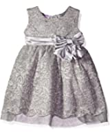 Blueberi Boulevard Baby Girls' Metallic Lace Satin Bow Waist Dress