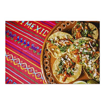 Mexico - Tacos on Bright Patterned Fabric 9027972 (Premium 1000 Piece Jigsaw Puzzle for Adults, 20x30, Made in USA!): Toys & Games