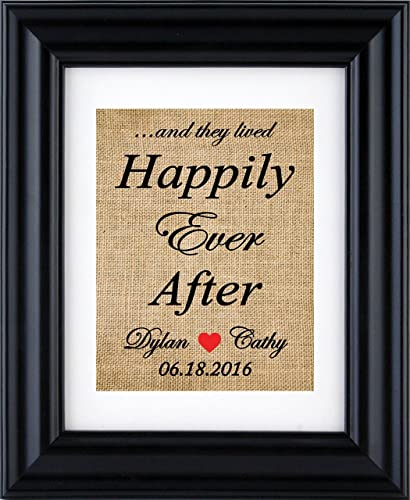 Happily Ever After Sign Personalized Bridal Shower Gift Wedding Gift For Couple Burlap Wedding Decoration Happily Ever After Anniversary Burlap