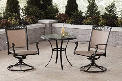Pleasing Amazon Com Hanover Fontana 3 Piece Bistro Set With 2 Sling Caraccident5 Cool Chair Designs And Ideas Caraccident5Info