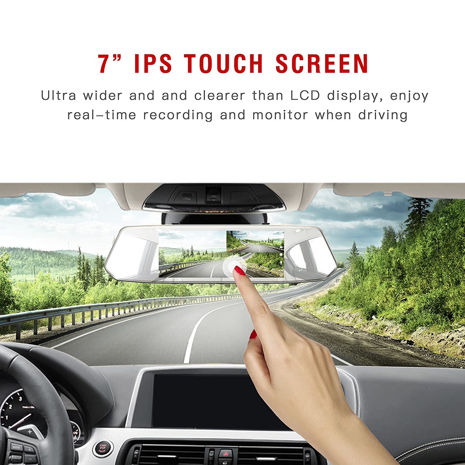 Toguard Backup Camera 7 Mirror Dash Cam Touch Screen Pin Wiring Diagram Jpg On Pinterest 1080p Rearview Front And Rear Dual Lens With Waterproof Reversing Car Electronics