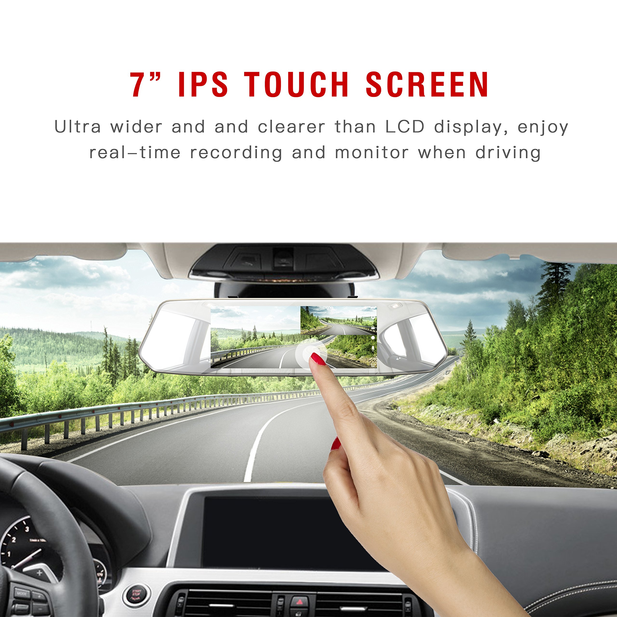 TOGUARD Backup Camera 7'' Mirror Dash Cam Touch Screen 1080P Rearview Front and Rear Dual Lens with Waterproof Reversing Camera by TOGUARD (Image #3)