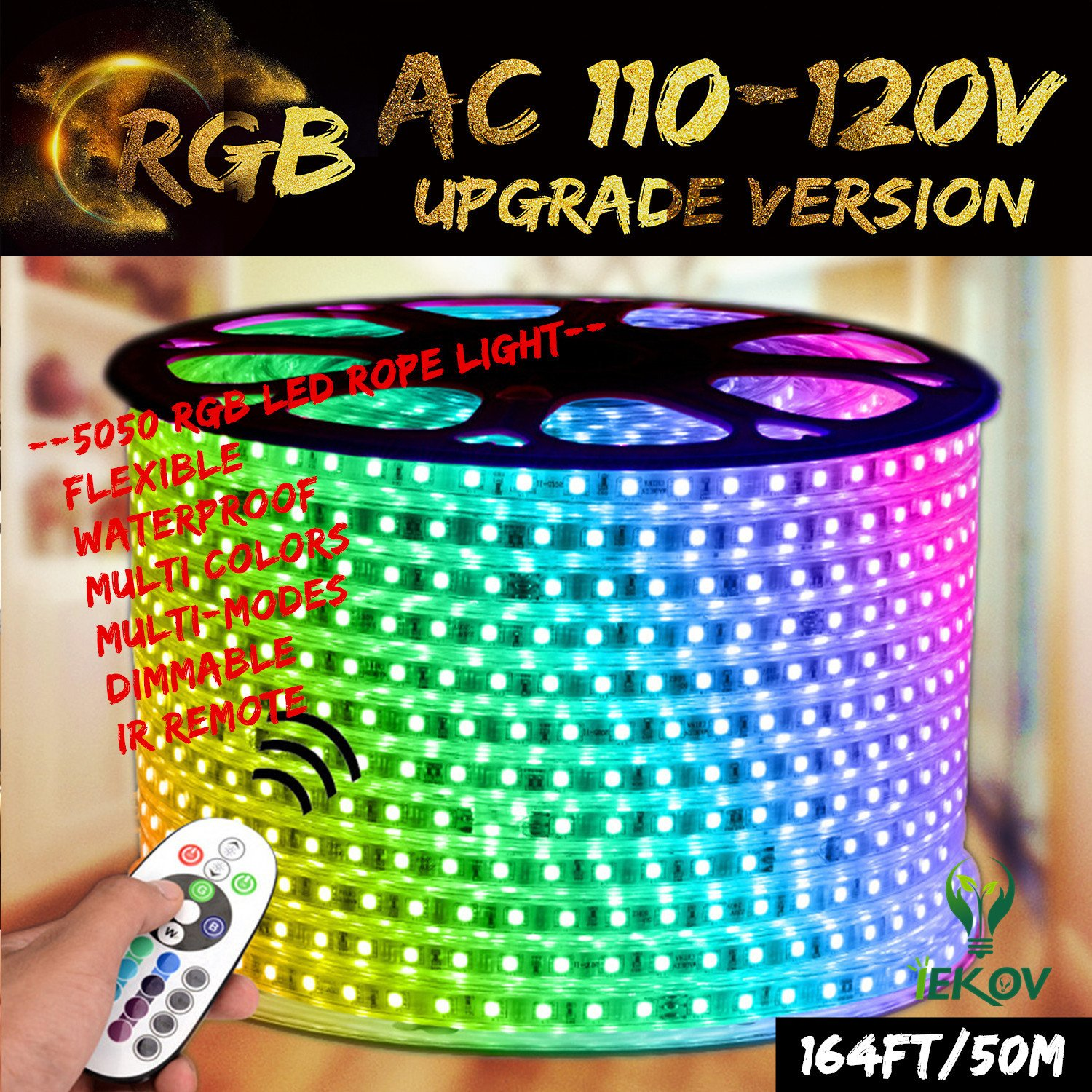RGB LED Strip Light, IEKOV™ AC 110-120V Flexible/Waterproof/Multi Colors/Multi-Modes Function/Dimmable SMD5050 LED Rope Light with Remote for Home/Office/Building Decoration (164ft/50m)