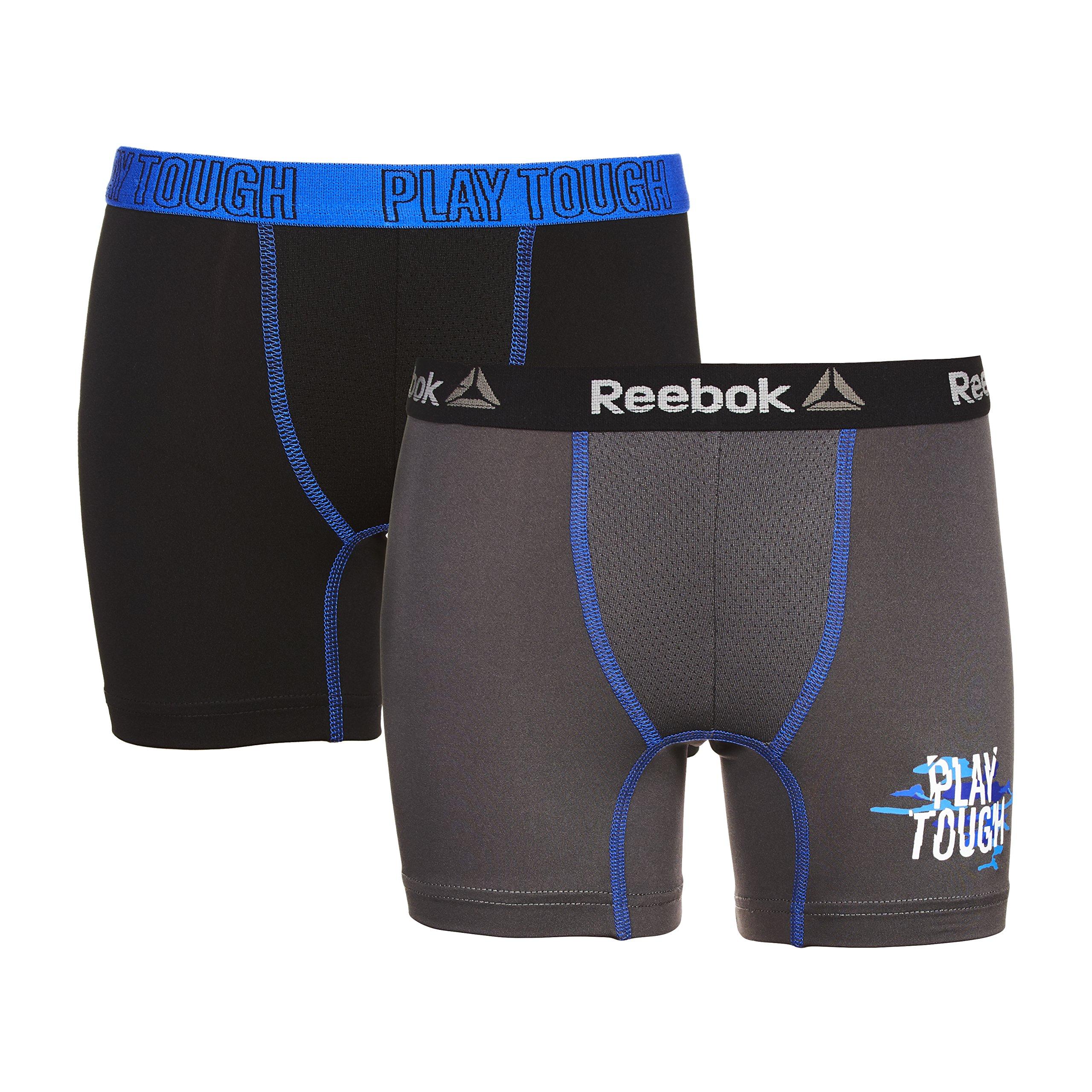 Reebok Boys 2 PK Boys Performance Boxer Brief Black/Magnet Large (12/14)
