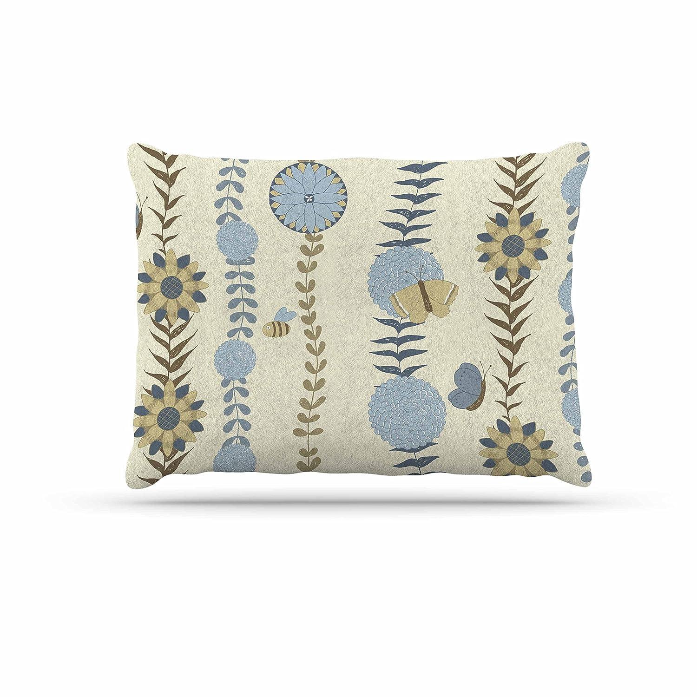 KESS InHouse Judith Loske bluee Flower Garden bluee Beige Dog Bed, 30  x 40