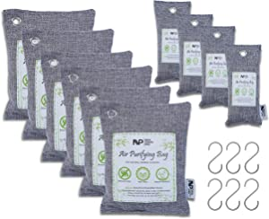 New Vision Pro Charcoal Air Purifying Bags-Natural Bamboo Charcoal (Kids and Pet Friendly)-Strong Odor Remover and Moisture Absorber for Home, Car, Closet, and Basement Area (6x200g,4x75g,6XS Hook)
