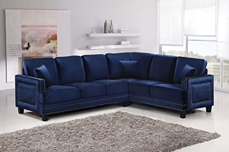 Meridian Furniture 655Navy-Sectional Ferrara Velvet Upholstered 2 Piece  Sectional Sofa with Square Arms, Silver Nailhead Trim, and Custom Solid  Wood ...