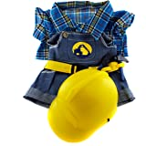 """NEW Construction Worker with Hard Hat Outfit Teddy Bear Clothes Fit 14"""" - 18"""" Build-a-bear, Vermont Teddy Bears, and Make Your Own Stuffed Animals by BEARegards Teddy Bear Stuffers"""