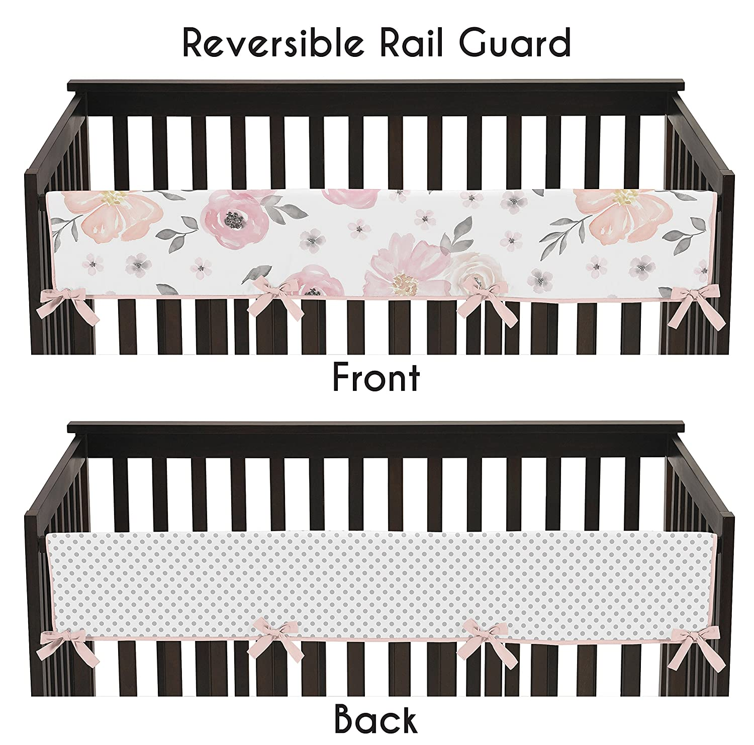 Blush Sweet Jojo Designs Navy Blue and Pink Watercolor Floral Baby Girl Nursery Crib Bedding Set Green and White Shabby Chic Rose Flower Polka Dot 4 Pieces