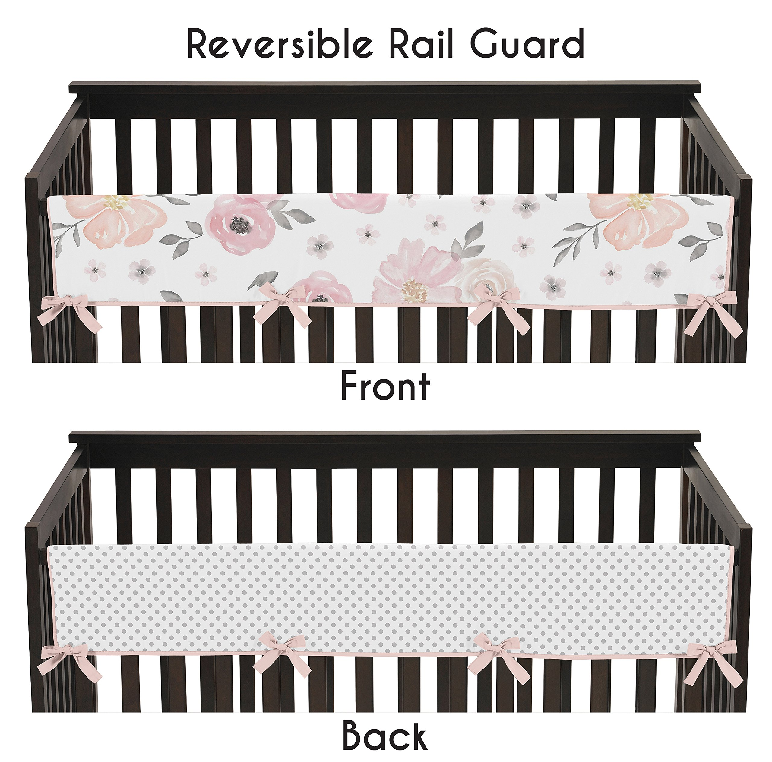 Sweet Jojo Designs Blush Pink, Grey and White Long Front Crib Rail Guard Baby Teething Cover Protector Wrap for Watercolor Floral Collection by Sweet Jojo Designs