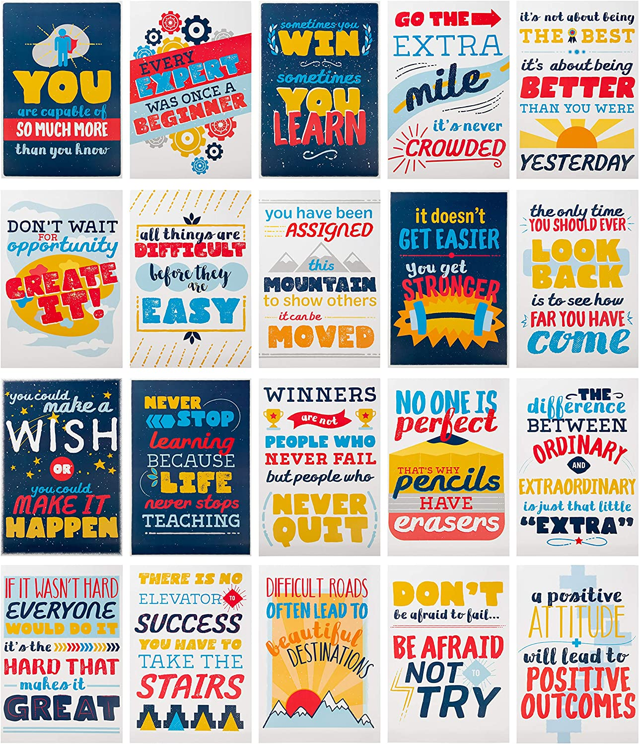 Juvale Motivational Posters, Teacher Supplies for Classroom (13 x 19 Inches, 20-Pack)