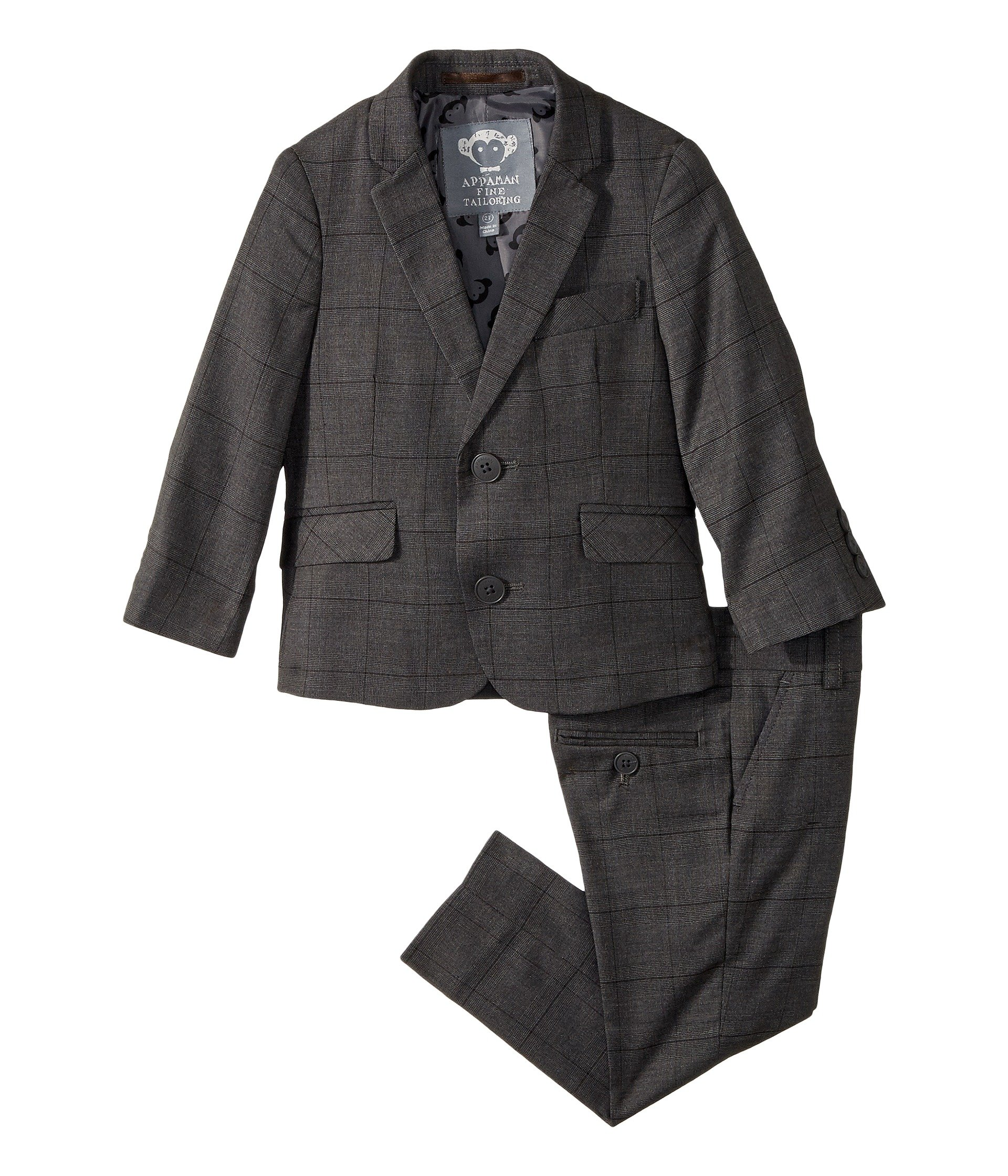 Appaman Kids Baby Boy's Two-Piece MOD Suit (Toddler/Little Kids/Big Kids) Charcoal Wales Check 16 by Appaman Kids