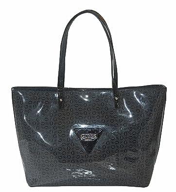 a07de5857c Amazon.com  GUESS Signature Patent Liberate Tote Bag Handbag Purse Coal   Shoes