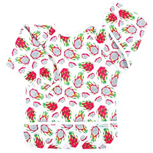 Langsprit Baby Bib with Sleeves-Waterproof Long Sleeve Bib for Babies/Infant/Toddler Smock Baby with Pocket(6-24 Months),Dragon Fruit