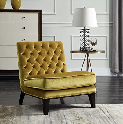 Iconic Home FAC2693 AN Achilles Modern Neo Traditional Slipper Tufted Velvet  Cognac, Accent Chair