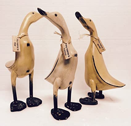 Homestyles Wooden Vintage Hand Crafted Duck 3 Piece Duck Set Carved Bamboo Root Figurine Set With Whimsical Name Tags 13h