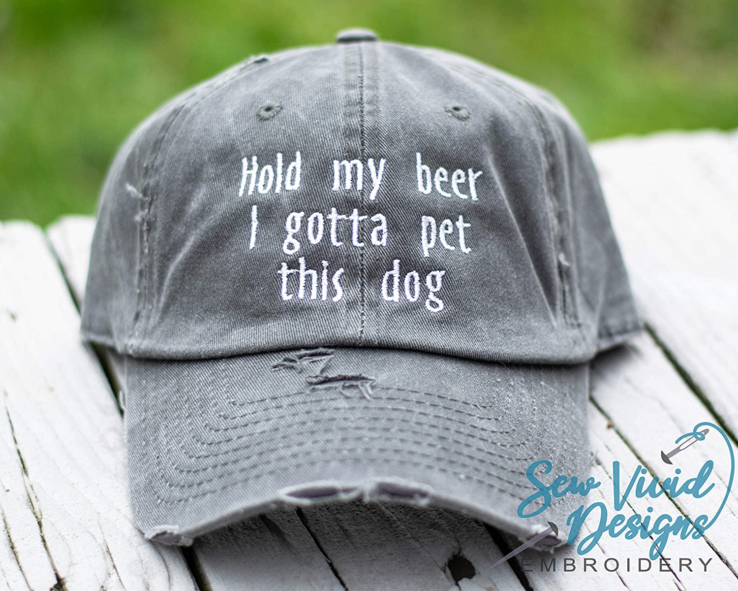 Hold my beer I gotta pet this dog Hat Custom Embroidered Baseball Cap OR Ponytail Hat Personalize it!