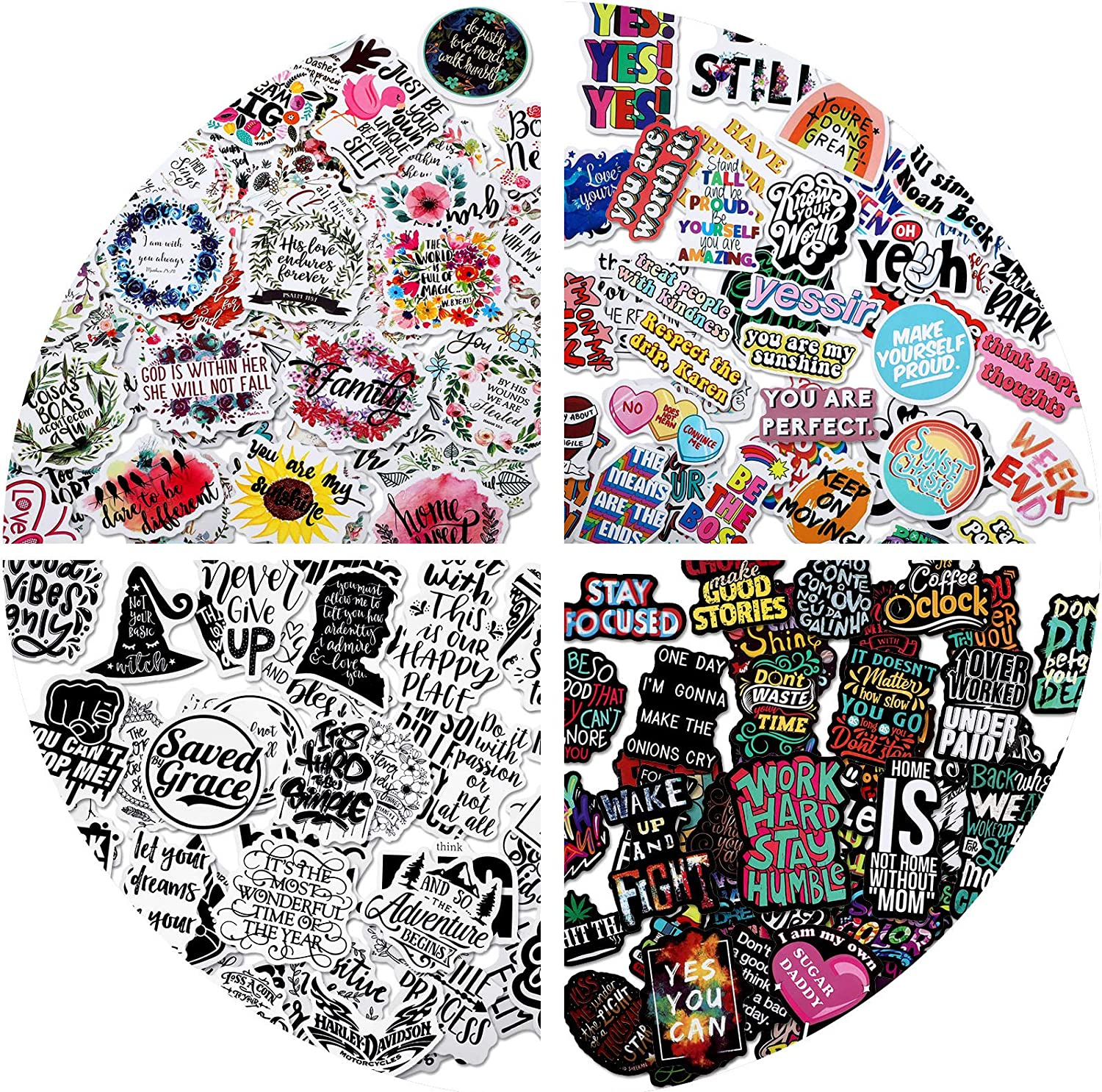 Zonon 200 Pieces Reward Motivational Stickers Waterproof Inspirational Stickers for Laptop Mix Vinyl Encouragement Decal for Adults and Teens Luggage, Guitar, Bottle, Refrigerator Decorations