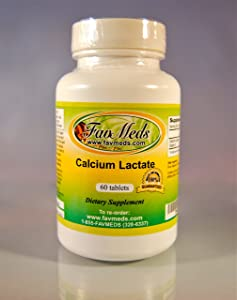 Calcium Lactate 1000mg, Made in USA - 60 Tablets
