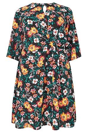 ebf38b2ac02d Yours Women s Plus Size London Black   Colour Floral Dress with Tie Front  Size ...