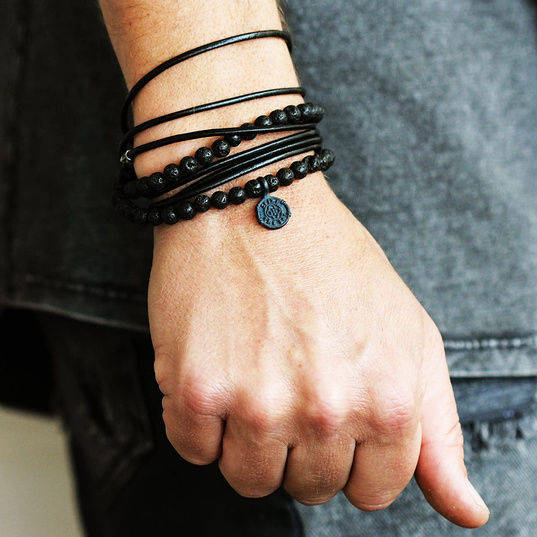 Men/'s Vegan Leather SEIZE THE DAY Lava Bead Brass Coin Wrap Bracelet Oxidized Cool Charm Jewelry Man Guys Brass Carpe Diem Bracelet