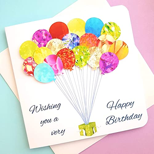 Handmade Birthday Card Colourful Balloons Mum Daughter Grandma