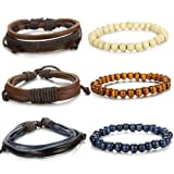 Amazon Price History for:LOYALLOOK 6pcs Vintage Leather Cuff Bracelets With Wooden Beaded Bracelets for Men Women 7-8.5inches Adjustable
