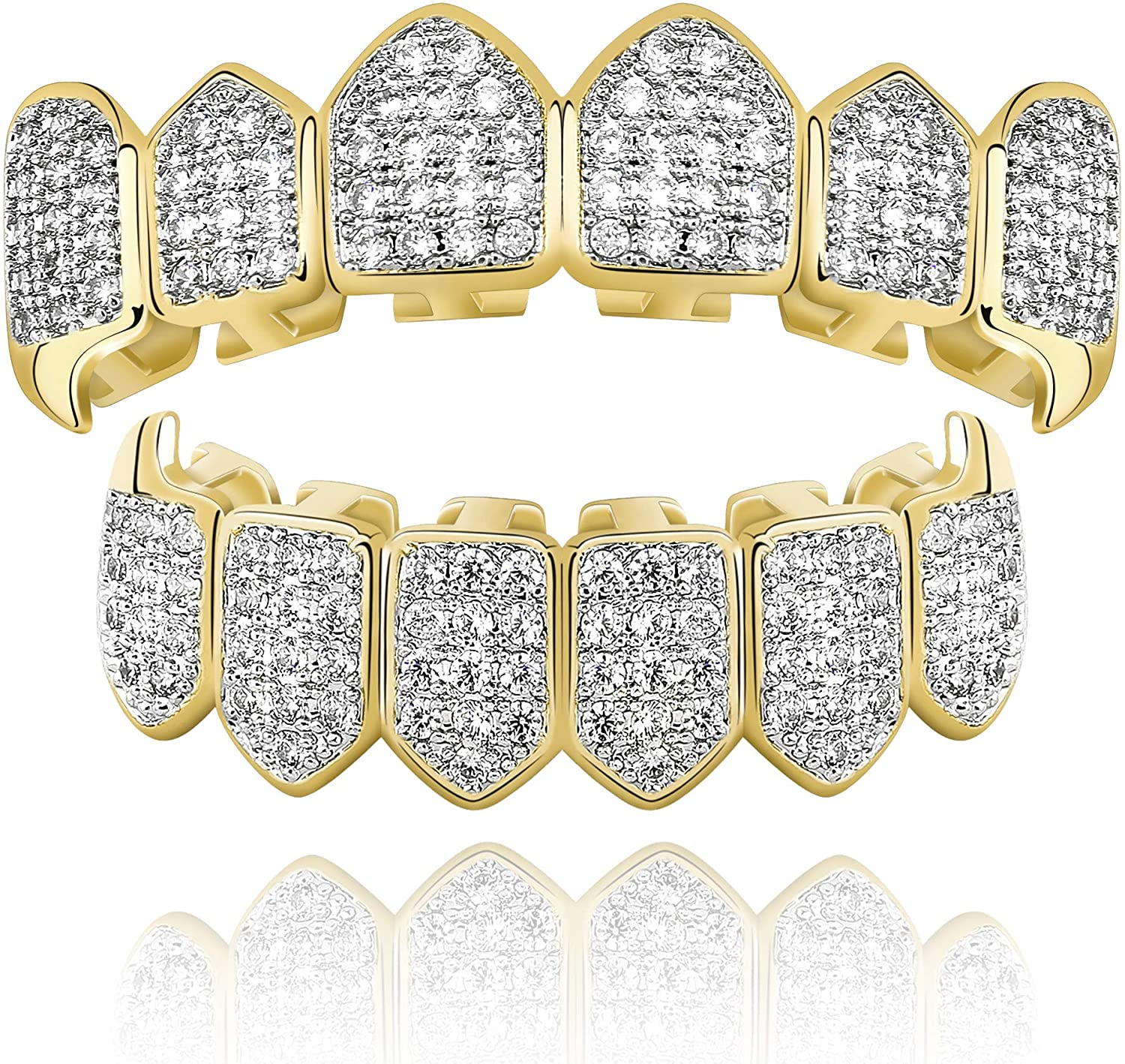Vampire ZIRKONIA Gold silv Iced Out One Size fits All Bottom Grillz