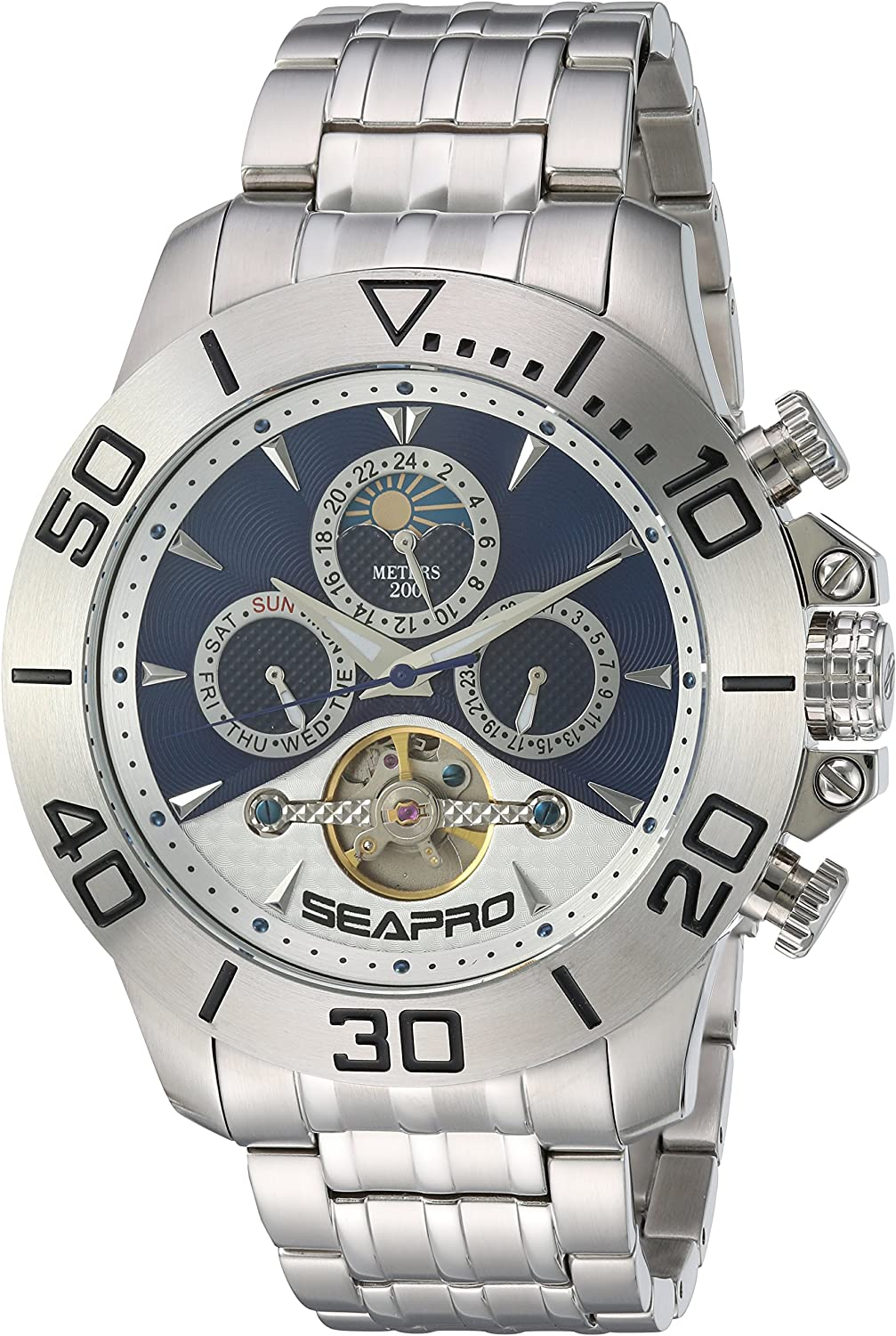 Seapro Men's Montecillo Automatic-self-Wind Watch with Stainless-Steel Strap, Silver, 24 (Model: SP5136)