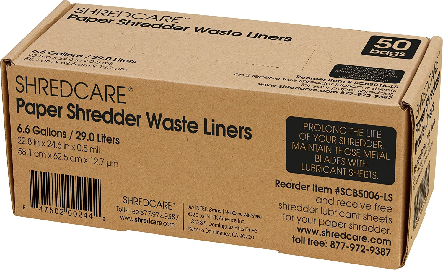 Shredcare 6.6-Gallon Office Waste Bin Trash Can Liner (SCB5006) Pack of 50