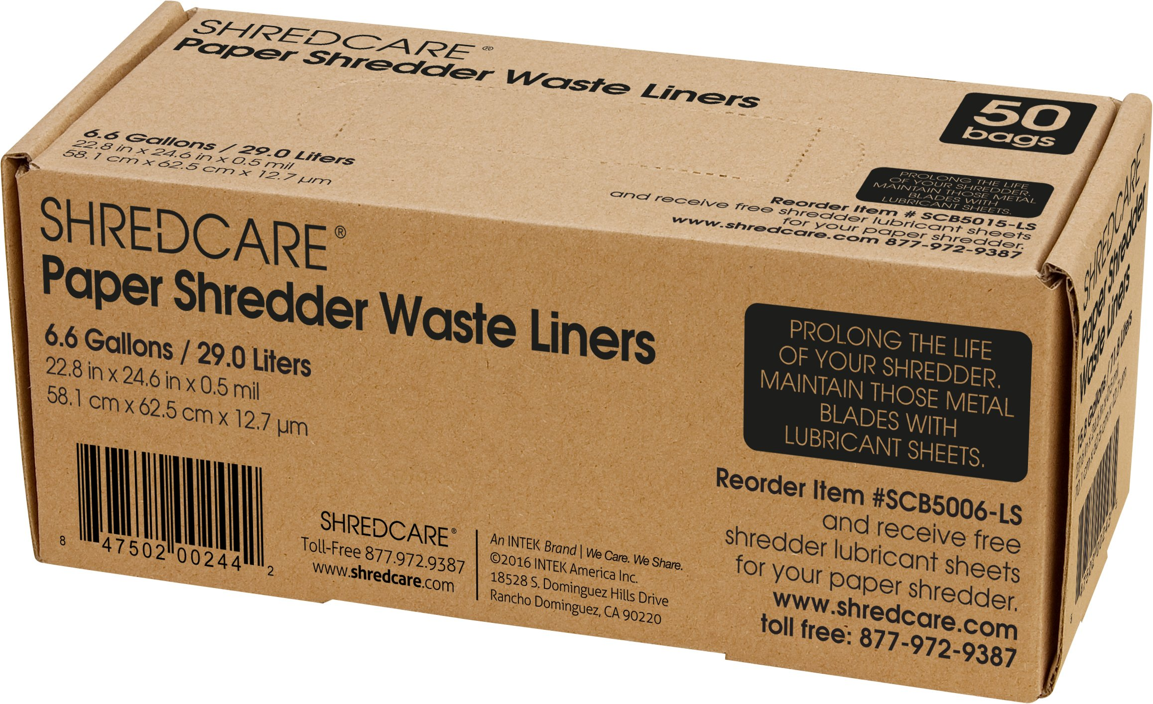 Shredcare 6.6-Gallon Office Waste Bin Trash Can Liner (SCB5006) Pack of 50 by ShredCare