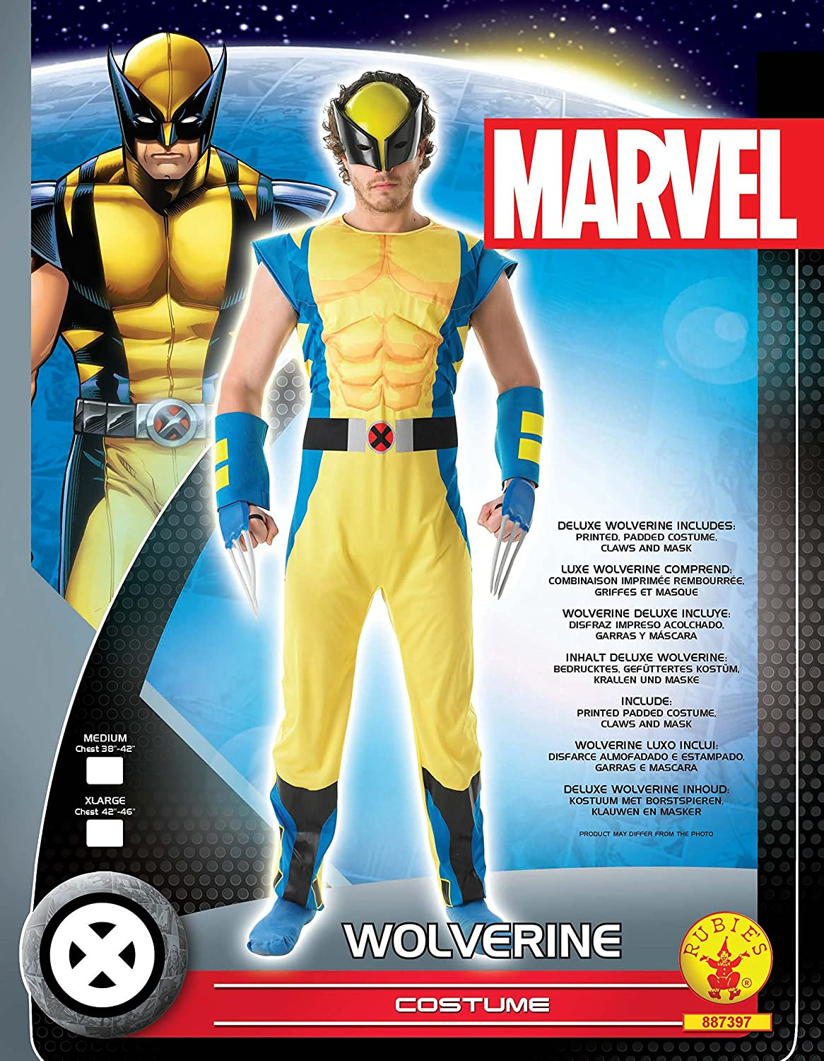 Amazon.com: Rubies Official Marvel Wolverine Deluxe, Adult Costume - Standard Size: Home Improvement