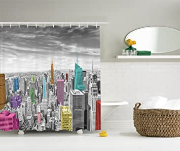 Cityscape Decor Shower Curtain By Ambesonne NYC New York City Skyline Panoramic Picture Polyester