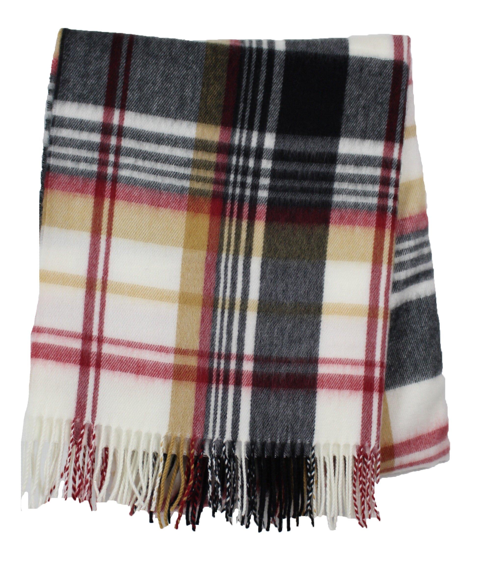 Women's 100% Cashmere Plaid Tassel Long Scarf (White)