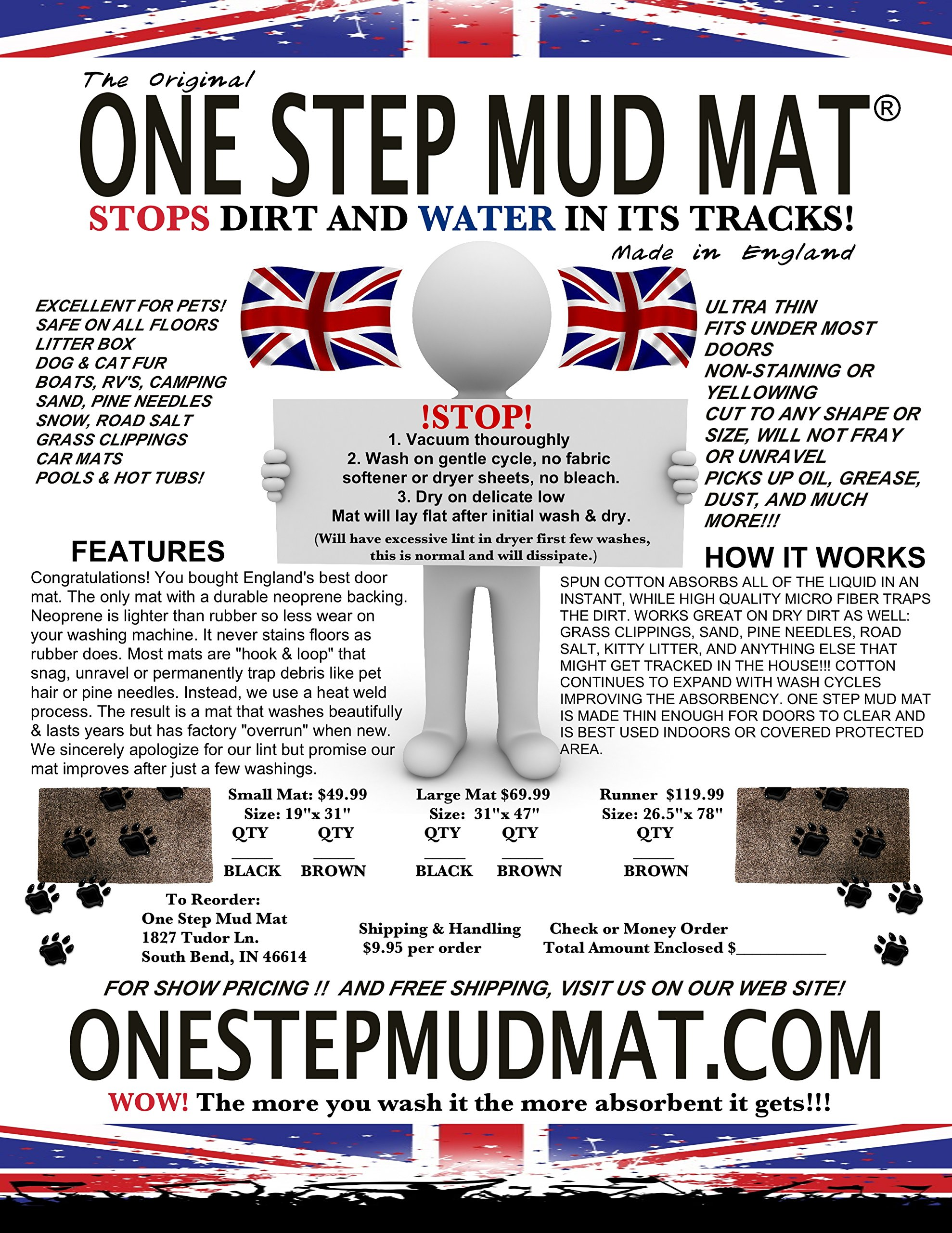 One Step Mud Mat Original Made in England 26.5W x 78L Runner (Brown) Indoor Floor Mat with Non Slip Backing Traps Mud and Dirt Perfect for Pets Excellent for High Traffic Areas by ONE STEP MUD MAT STOPS DIRT AND WATER IN ITS TRACKS! (Image #4)