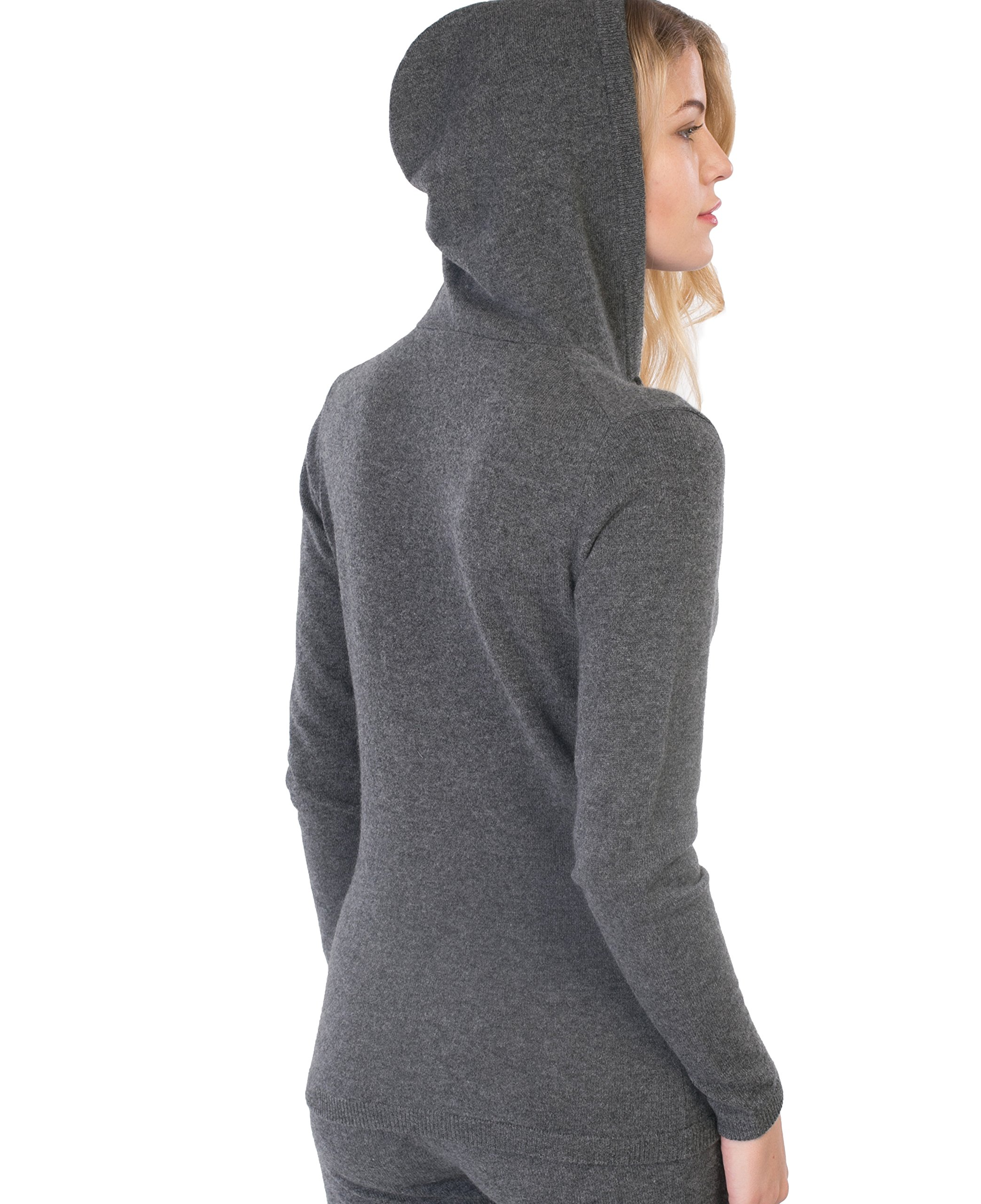 cashmere 4 U Women's 100% Cashmere V Neck Hoodie Sweater Pullover (X-Large, Gris Moyen) by cashmere 4 U (Image #4)