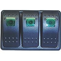 Fastronix Lighted 3 Rocker Switch Panel Auto/Marine (Green)