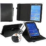 Emartbuy® Trekstor SurfTab Wintron 7.0 Tablet 7 Zoll Universal ( 7 - 8 Zoll ) Schwarz Carbon 360GradrotierendeStandFolioGeldbörseTascheHülle + Schwarz Eingabestift