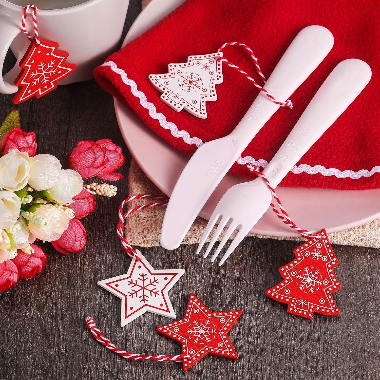 ZOYLINK 120-PCS Colgantes Navidad Adornos Árbol de Fiesta Decoración de Navidad Estrella Corazón de Amor Árbol de Navidad Dadorno Colgante
