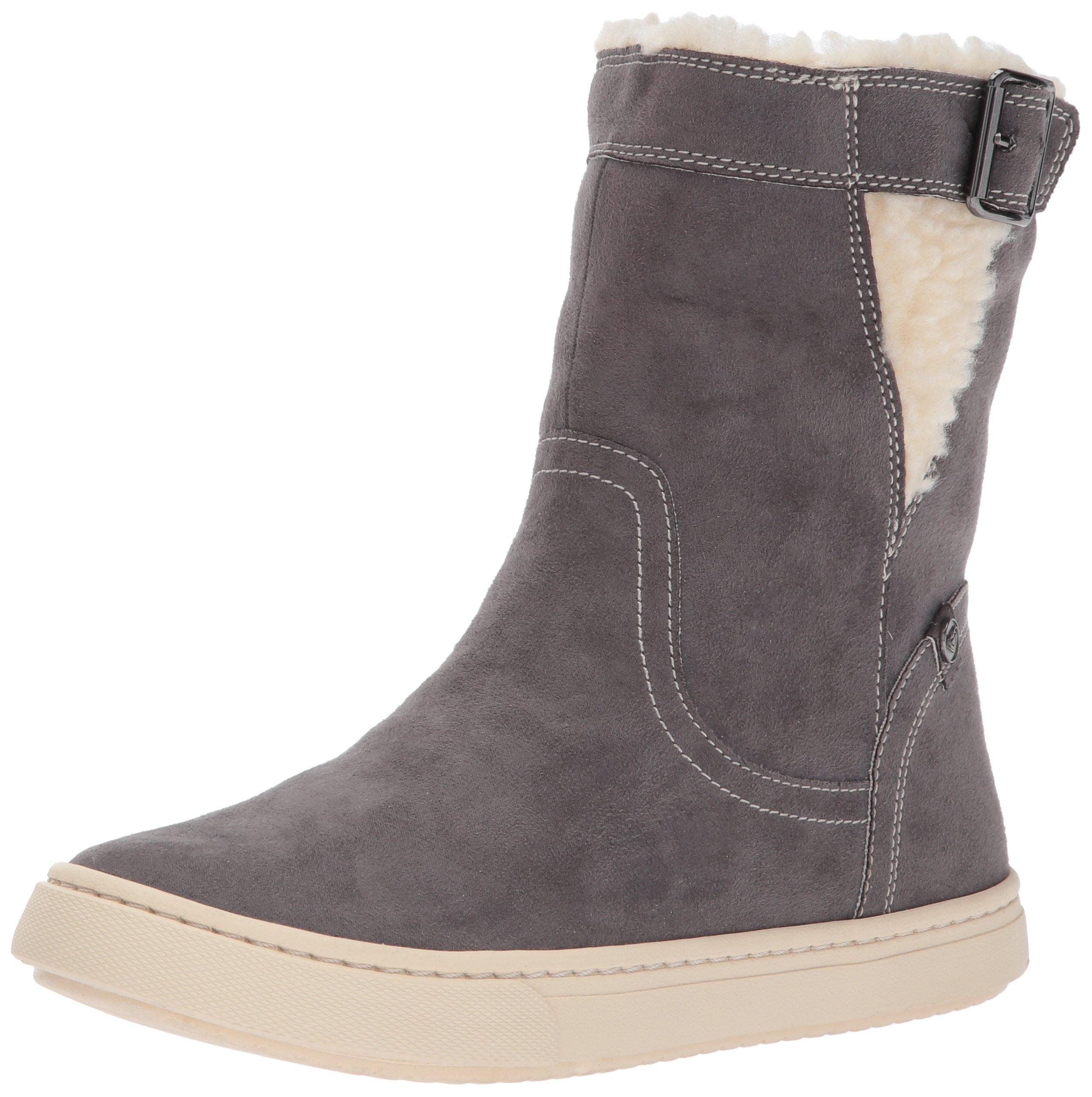 Roxy Women's Blake Mid Faux Suede Shoe Fashion Sneaker, Charcoal, 8 M US