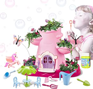 CONII Kids | Unicorn Paradise Fairy Gardening Kit - Gardening Set for Kids with Soil, Seeds, Mini Gardening Tools and Magical Soap Bubble - Kids Planting Kit with Flittering Lights and Music (Pink)